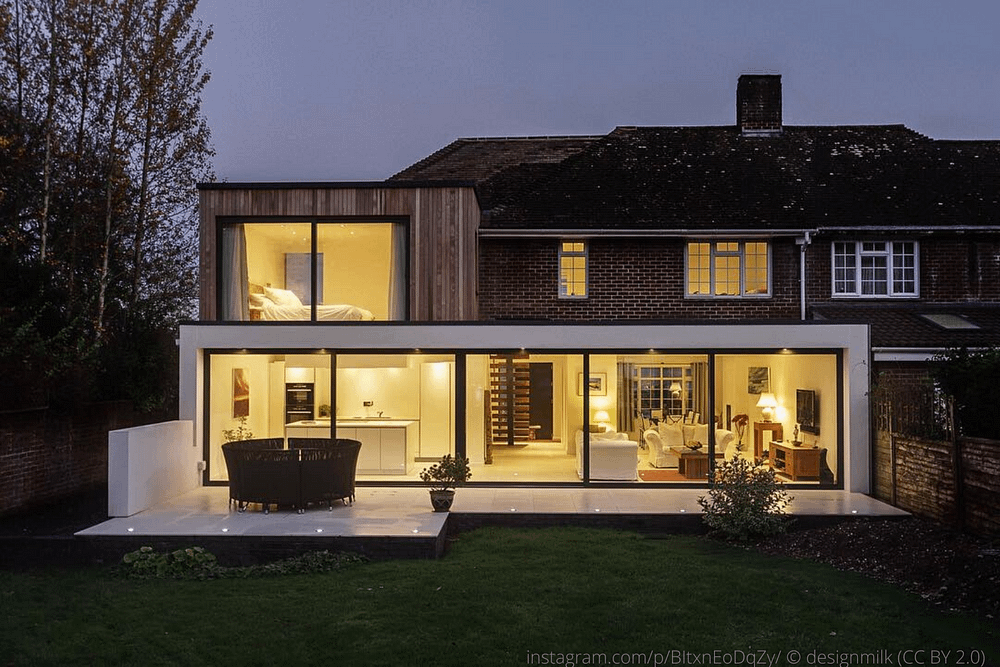 modern double storey extension on a brick home